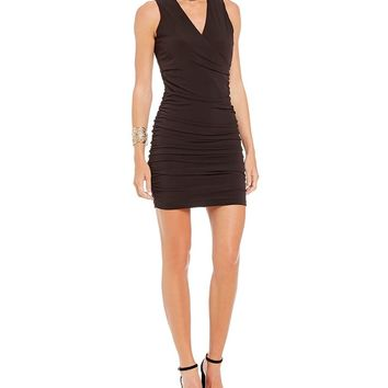 I.N. San Francisco Choker-Neck Ruched Sheath Dress | Dillards