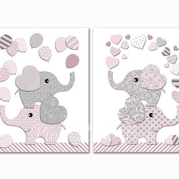 Pink grey elephants with balloons nursery art kids room hearts wall decor baby girl artwork toddler poster shower decoration newborn gift