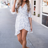Out And About Ruffle Detail Bell Sleeve Floral Wrap Dress (Ivory/Lavender)