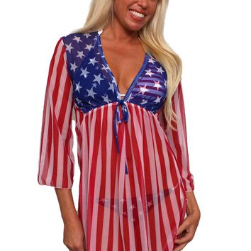 Gorgeous USA Flag Long Sleeve Cover-up Beach Dress Stars and Stripes Swimwear