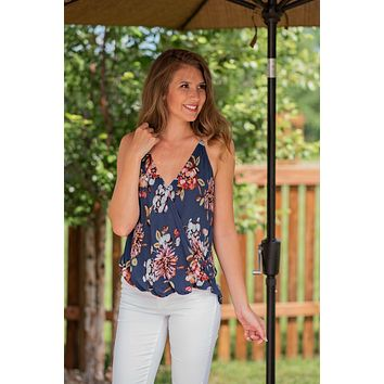 Together Again Wrap Floral Top : Navy