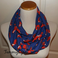 Ready To Ship! Medium Royal Cobalt Blue and Orange Fox Family Animal Jersey Knit Fashion Infinity Scarf Women's Accessories