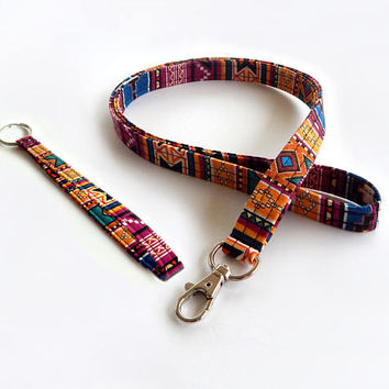 Tribal Print Lanyard Set / Boho Keychain / Bohemian / Key Lanyard / ID Badge Holder / Tribal Pattern / School Supplies / Wrist Lanyard