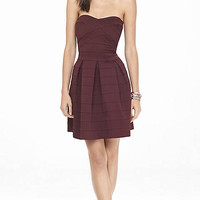 Berry Elastic Fit And Flare Dress from EXPRESS
