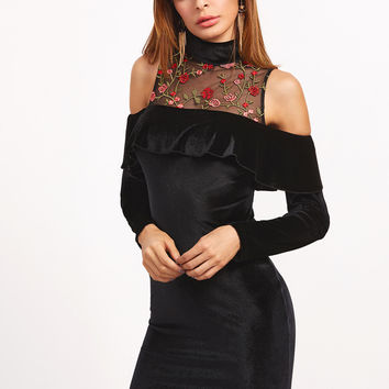 Black Embroidered Mesh Neck Cold Shoulder Ruffle Velvet Dress | MakeMeChic.COM