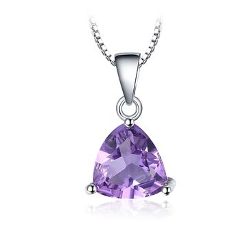 Jewelry Palace Trillion 1.6ct Natural Purple Amethyst Birthstone 925 Sterling Silver Solitaire Pendant Necklace 18 Inches