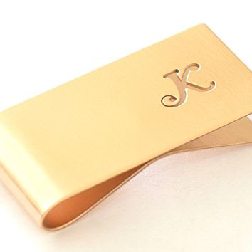 Personalized Bronze monogram money clip