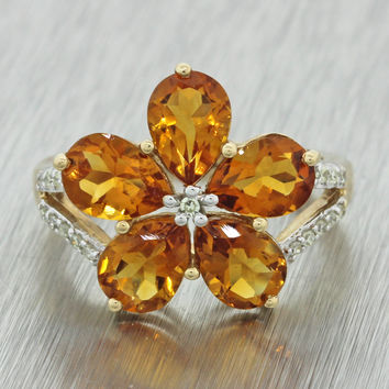 $800 India 10k Solid Yellow Gold 3ctw Pear Citrine .18ctw Diamond Flower Ring