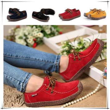 2017 Fashion Casual Lady Handmade Suede Loafers  Women  Slip on Flats Genuine Leather Shoes  (Size US 5-10.5/EU 35-42 )