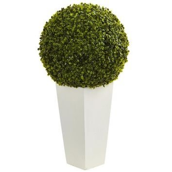 "28"" Boxwood Topiary Ball Artificial Plant in White Tower Planter (Indoor/Outdoor)"