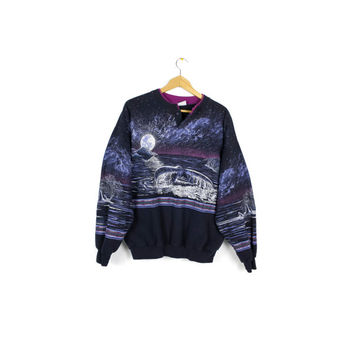 90s whale sweatshirt - vintage 1990s - dolphins - orca whales - stars - full moon - pacific northwest - nature