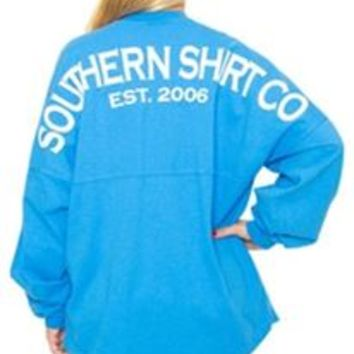 Southern Shirt Company Crew Neck Jersey Pullover in French Blue