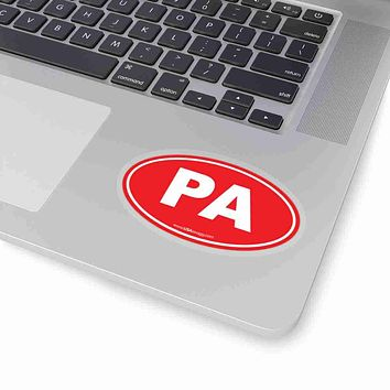 Pennsylvania PA Euro Oval Sticker SOLID RED