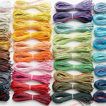 30FT Multi Colors 1mm Waxed Cotton Cord / Wax Macrame Jewelry Beading String Red Yellow Green Blue Purple Black Grey Red Pink Fuchsia Brown