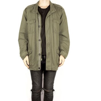 gap oversized military jacket / 90s grunge / army olive green / parka / baggy / tactical / outdoors / minimal / coat / mens L - XL