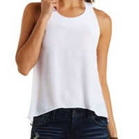 White Chiffon Swing Halter Top by Charlotte Russe