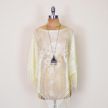 Vintage 90s 70s Yellow Lace Poncho Sheer Lace Shawl Floral Lace Blouse Lace Top Crochet Fringe 70s Poncho Hippie Poncho Boho Poncho S M L