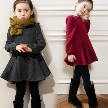 Girls Winter Dresses Brand Patchwork Kids Clothes Little Toddler Party Princess Dress Wine red Black Gray Size 2t 3t 4t 5 6 7