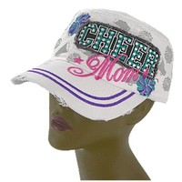 Cheer Mom Rhinestone Studded Bling Cap Hat (White)
