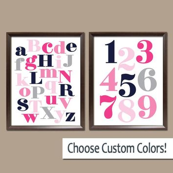 ABC 123 Wall Art, Alphabet Number Wall Art, Baby Girl Nursery Art,  Set of 2 Canvas or Prints, Gift for Girl Wall Decor Pictures