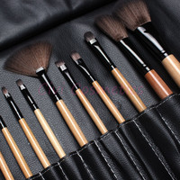 Professional 12pcs Makeup Brush Set with Black Leather Bag