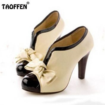 Women High Heel Shoes New Sexy Lady Beige Bow Vintage Bowknot Pumps Platform Round Toe