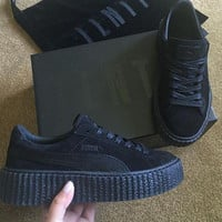 Rihanna Puma Black Satin Creepers