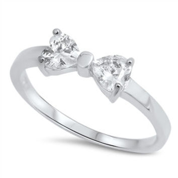 Sterling Silver CZ Bow Ring