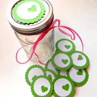 12 Adhesive Labels - Apple Green, 2inch Scallop Circle, Heart Punched, Gift Tags, Baby Shower Favors, Mason Jar Labels, Wedding Favors
