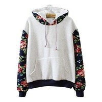 Cute Hoodies Sweater Pullover Warm Fleece Lined Flowers Sleeve