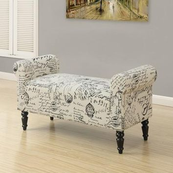 "Monarch Bench 44""L / Traditional Style Vintage French Fabric"