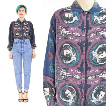 80s ANGEL Print Baroque Silk Shirt Long Sleeve Womens Silk Shirt Collared Versace Style Silk Blouse Button Down Purple Blue Cherubs (S/M)