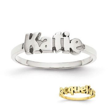 Personalized Block Font Name Ring - Sterling Silver or Solid Gold