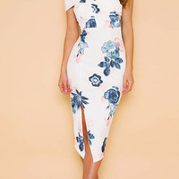 White Floral Print One Shoulder Strapless Side Split Midi Dress
