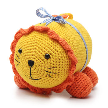 Yellow-Orange Lion Handmade Amigurumi Stuffed Toy Knit Crochet Doll VAC