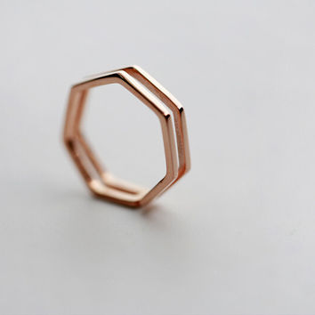 925 sterling silver rose gold heptagon opening ring ,rose gold heptagon ring,simple silver ring,a delicate gift