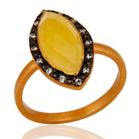 22K Gold Vermeil 925 Sterling Silver Yellow Moonstone & CZ Designer Ring
