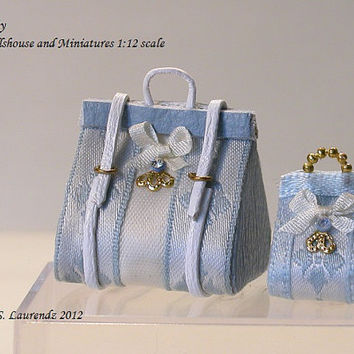 Dollhouse Small Carpet Bag and Purse - Light blue Leather -  Light Blue and White  - 1:12 scale (LA5)
