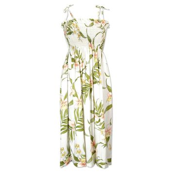bamboo orchid white hawaiian moonkiss short dress