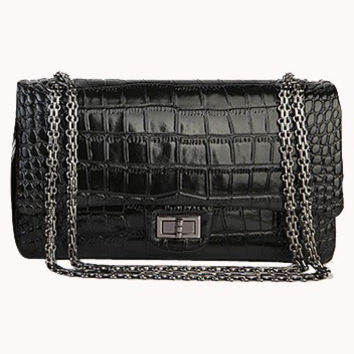 Adele Flap Bag Croc Effect Leather Black
