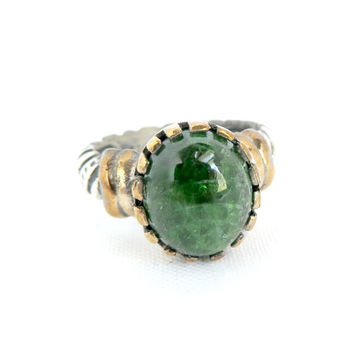 Vintage Sterling Silver Malachite Ring, Green Gemstone Ring, 925 Two Tone Silver Ring, Natural Malachite Ring Size 8