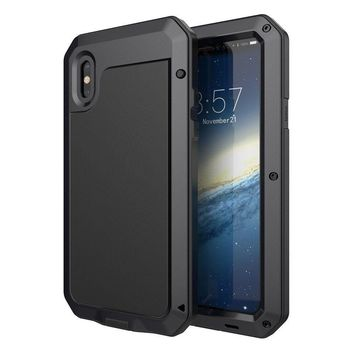 iPhone X Case Full Protection Shockproof Heavy Duty Aluminum Screen Cover-Black