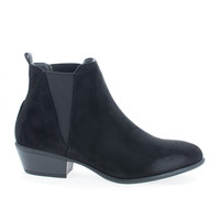Manny11 Black F-Suede by Wild Diva, Black Suede Chelsea Almond Toe Slip On Ankle Boots