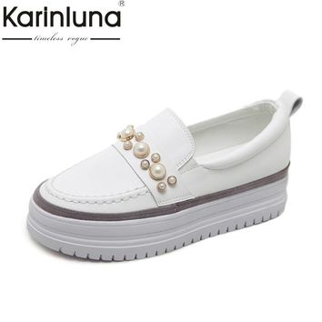 KarinLuna Women's Faux Pearl Beading Thick Platform Party Wedding Casual Flats Shoes Woman Oxfords size 35-39