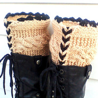 Beige knit leg warmers, cable leg warmers, cable boot cuffs, knit boot socks, chic boot cuffs, knit legwarmer, boot top, fashion boot cuffs