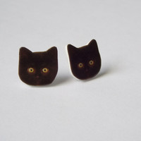 Black Kitten Stud Earrings