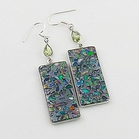 Peridot & Ethiopian Opal in Pyrite Sterling Silver Earrings