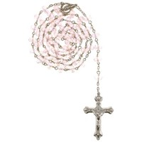 Pink Bead Rosary with Faceted Rondell Beads in 8x6mm - 28'' Necklace - 21'' Overall Length