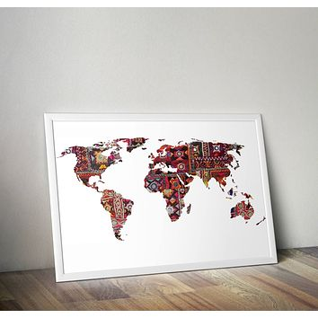 Indian Fabric Map Of Earth Yoga Grunge Hippie  Poster Bohemian Art Print Poster Design no frame 20x30 Large