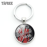 TAFREE Alternative Rock Panic! At the Disco Pendant Keychains Classic American Rock Band Keyring Car Key Best Friend Jewlry PD88